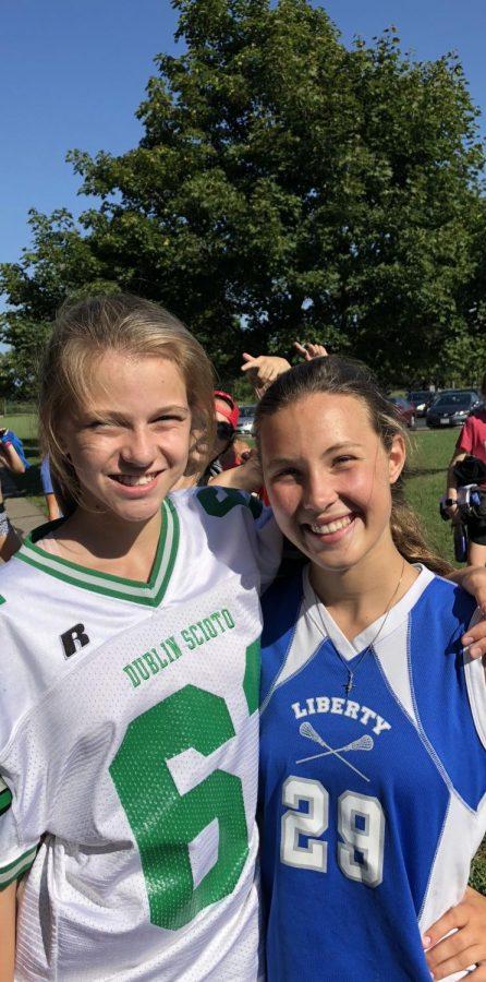 Cate Larsen '22 (left) and Ashley Boettcher '22, two freshmen at OLHS.