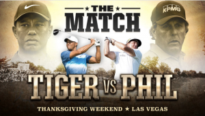 """The official poster for the match, tweeted by both Mickelson and Woods confirming the match. The image also accidentally includes Woods using a left-handed driver, even though he is a right-hander. Mickelson's caption to the photo was, """"[Tiger,] I see you have a left-handed driver, well played. I hope it's a Callaway""""."""