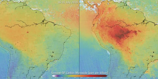 The data above shows the carbon monoxide levels present in the air over the Amazon. Between July and August of 2019 the carbon monoxide levels increased exponentially in the area, with over 100,00 fires.
