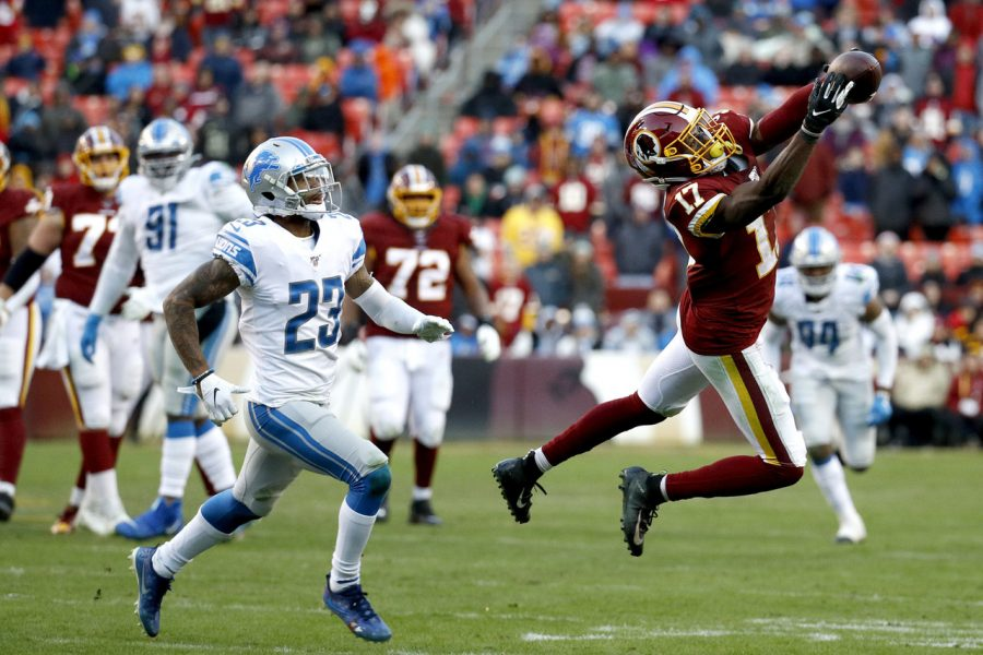 Redskins+WR+Terry+McLaurin+making+a+spectacular+catch+in+Sunday%27s+game.+The+Redskins+would+go+on+to+upset+the+Lions+19-16.