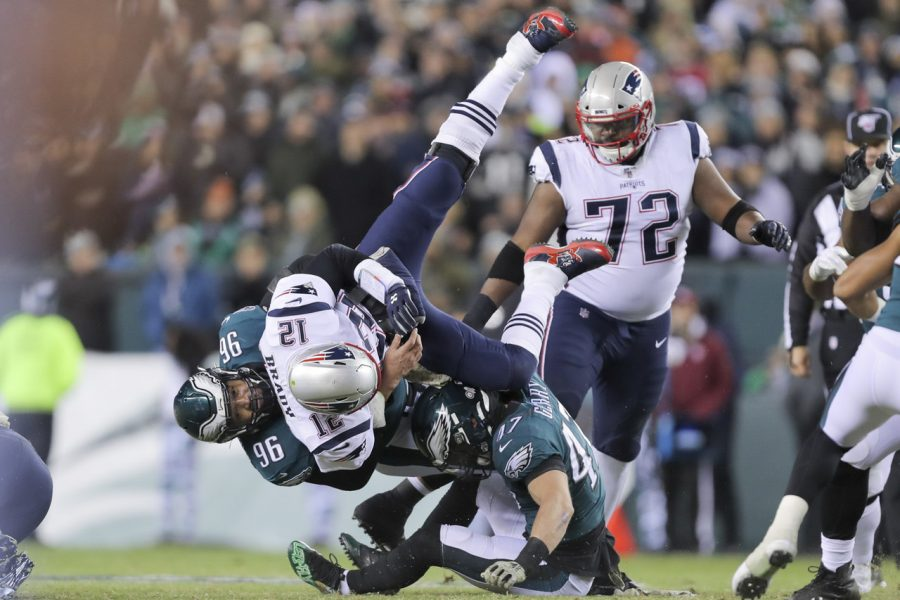 Tom+Brady+is+sacked+during+the+Patriots+vs+Eagles+game+on+Sunday.