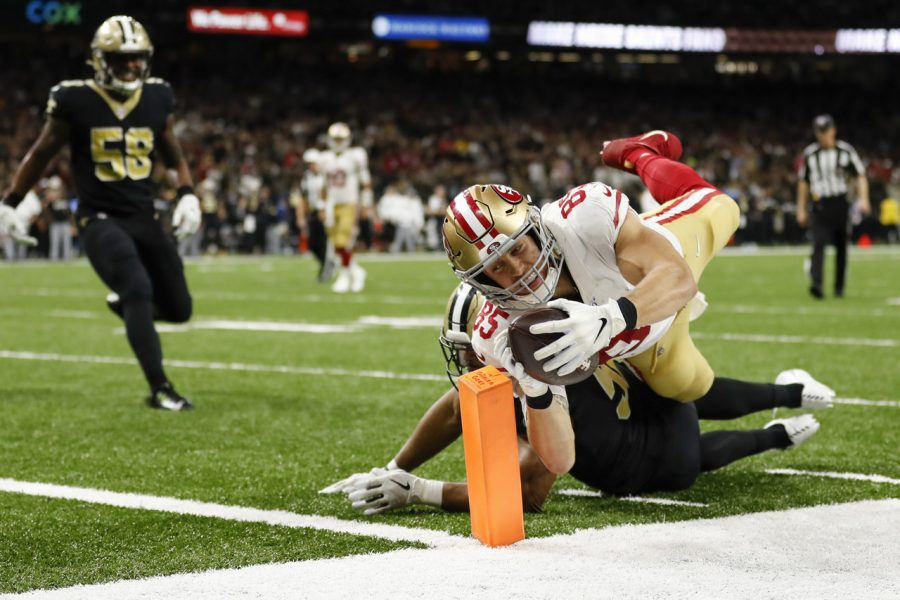 49ers+TE+George+Kittle+scores+a+touchdown+in+Sunday%27s+shootout+with+the+Saints.+The+49ers+would+end+up+winning+the+game+on+a+last+second+field+goal.