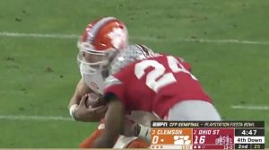 Ohio State's Shaun Wade's (24) hit on Clemson quarterback Trevor Lawrence that drew the targeting call and caused Wade's disqualification.