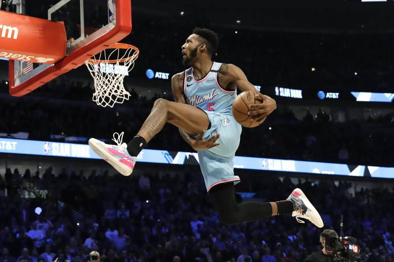 Derrick+Jones+Jr.+takes+off+during+the+2020+NBA+Slam+Dunk+Contest