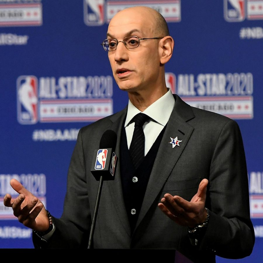 NBA+commissioner+Adam+Silver+in+a+press+conference+before+the+2020+NBA+All-Star+Game.