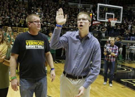 Josh Speidel being introduced alongside Vermont basketball on Sunday, Nov. 15, 2015. The event was less than a year after his potentially-fatal accident.