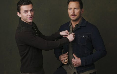 Tom Holland (left, Ian Lightfoot) and Chris Pratt (right, Barley Lighfoot) in a promotional shoot for Pixar's new movie,