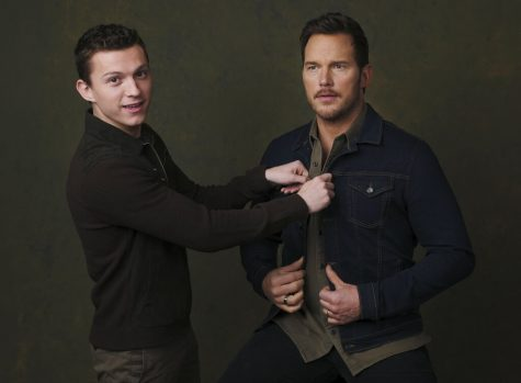 Tom Holland (left, Ian Lightfoot) and Chris Pratt (right, Barley Lighfoot) in a promotional shoot for Pixar