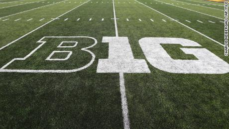 The Big Ten logo is seen on the field before an NCAA college football game. The Big Ten conference recently announced their plans to start the college football season.
