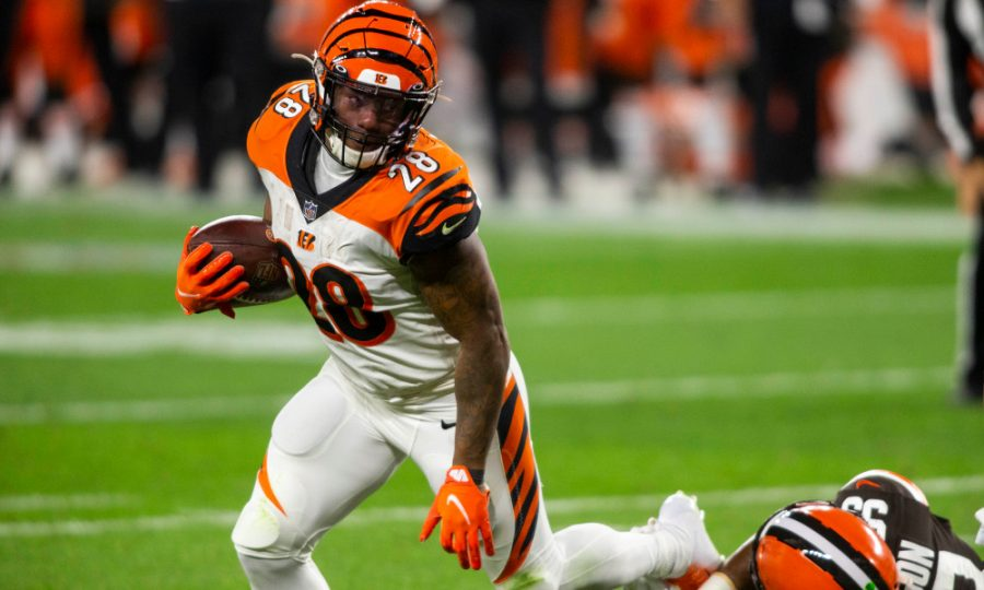 Sep 17, 2020; Cleveland, Ohio, USA; Cincinnati Bengals running back Joe Mixon (28) runs the ball against the Cleveland Browns during the third quarter at FirstEnergy Stadium.