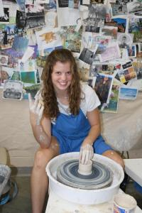 Senior, Abby Erickson, taking Ceramics 1, an eligible class after completing Art 1.